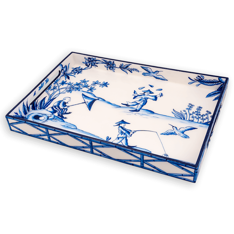 Habitat International Tray - Lacquer - Peking Picnic - Blue - 14x20