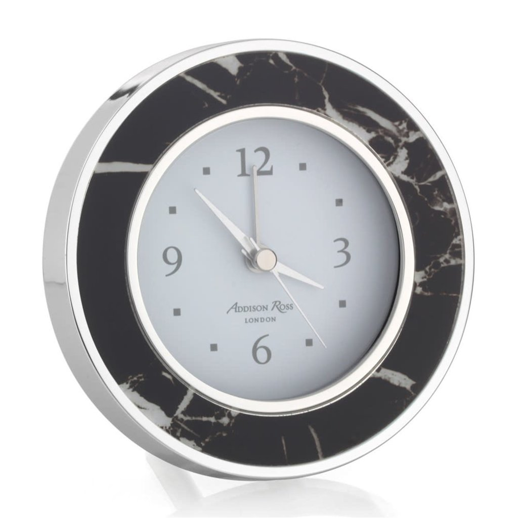 MH Alarm Clock - Round -  Black Marble - Silver