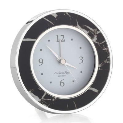 Alarm Clock - Round -  Black Marble - Silver