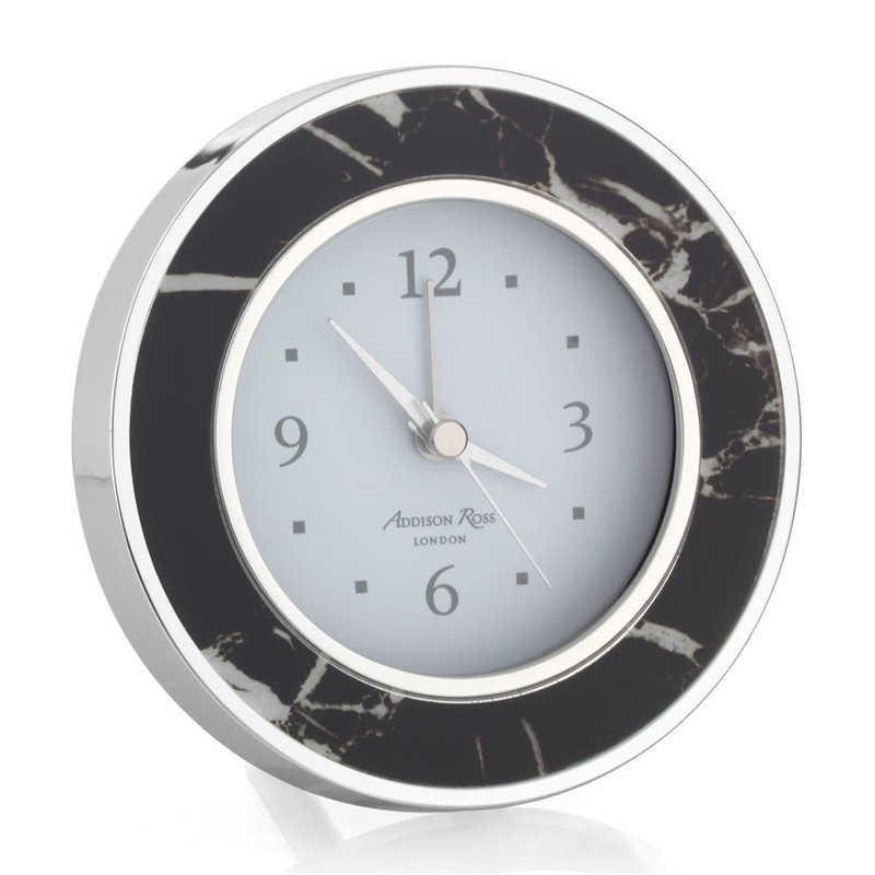 MH Alarm Clock - Round -  Black Marble - Silver