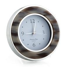 MH Alarm Clock - Round -  Grey Horn - Silver