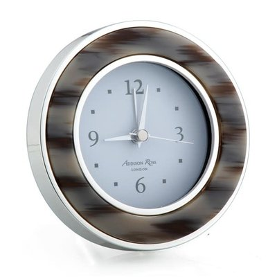 Alarm Clock - Round -  Grey Horn - Silver