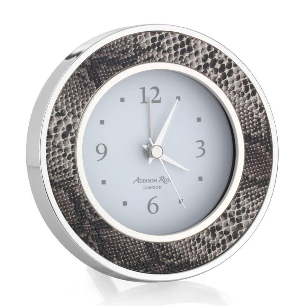 Alarm Clock - Round -  Natural Snake - Silver