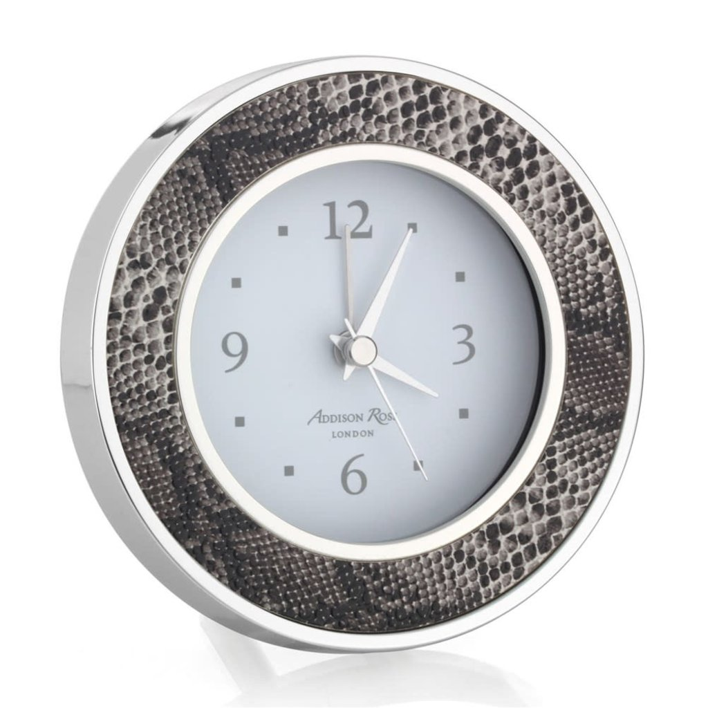 MH Alarm Clock - Round -  Natural Snake - Silver