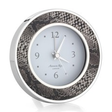 Addison Ross LTD Alarm Clock - Round -  Natural Snake - Silver