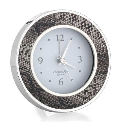 Alarm Clock - Round -  Natural Snake - Silver