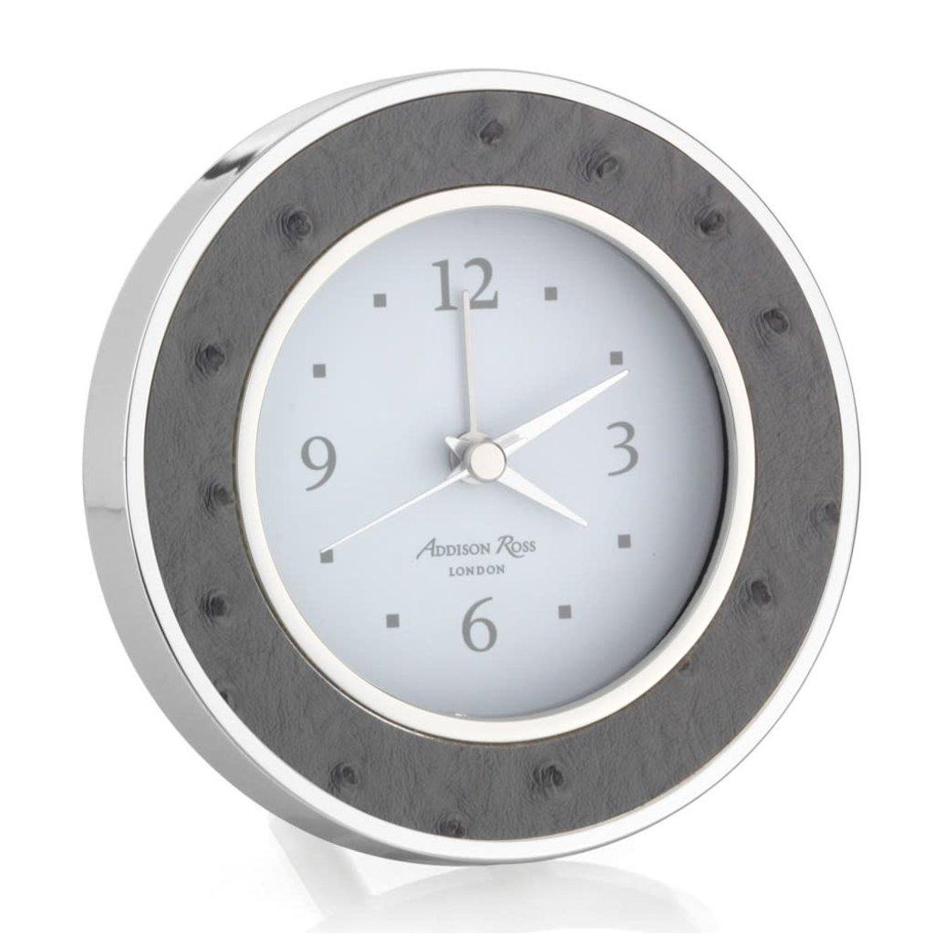 Addison Ross LTD Alarm Clock - Round -  Twilight Ostrich - Silver