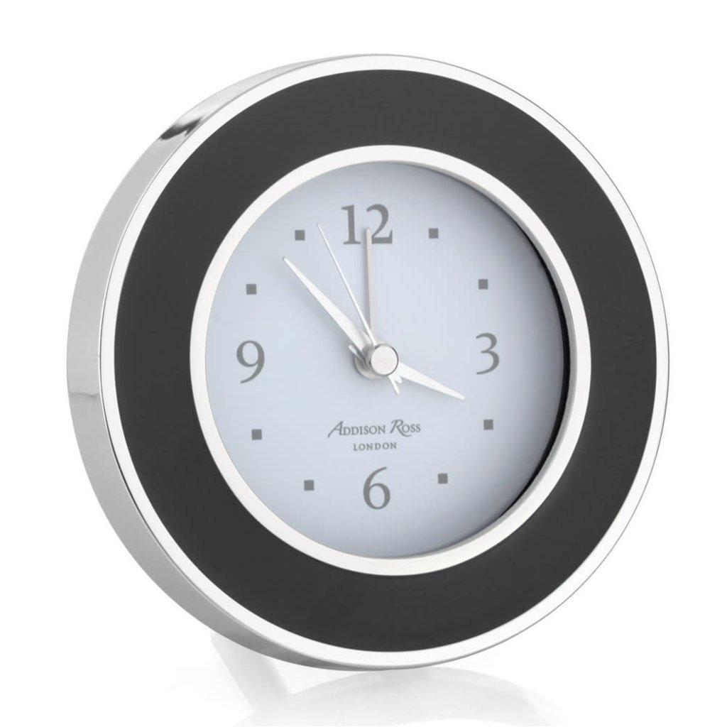Alarm Clock - Round - Enamel & Silver -  Black