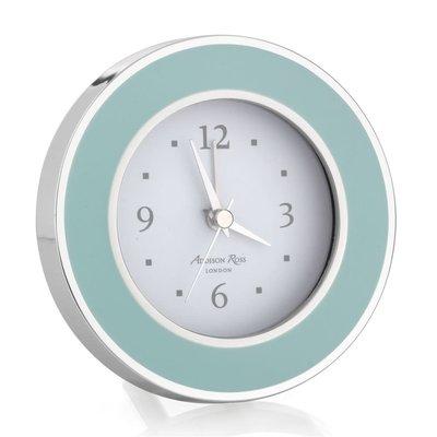 Alarm Clock - Round - Enamel & Silver -  Light Blue