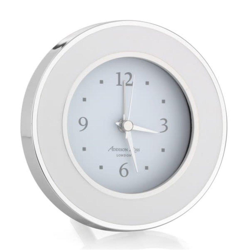 MH Alarm Clock - Round - Enamel & Silver -  White