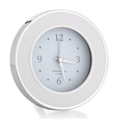 Alarm Clock - Round - Enamel & Silver -  White