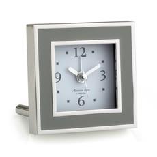 MH Alarm Clock - Square - Enamel & Silver -  Taupe