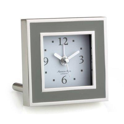 Alarm Clock - Square - Enamel & Silver -  Taupe