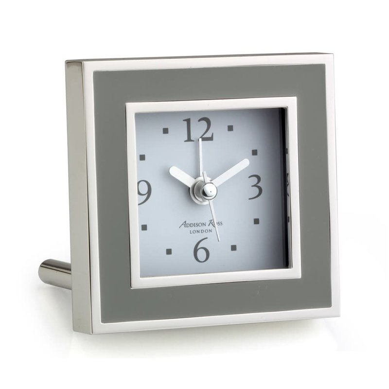 MH Alarm Clock - Square - Enamel & Silver -  Taupe