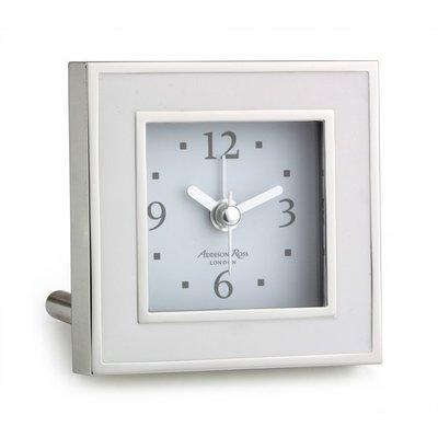 Alarm Clock - Square - Enamel & Silver -  White
