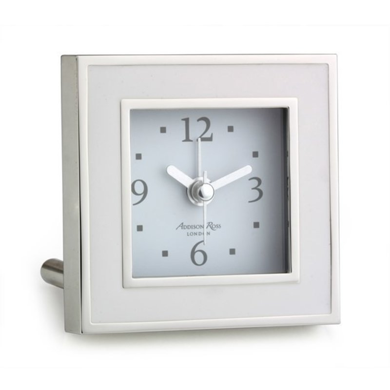 MH Alarm Clock - Square - Enamel & Silver -  White