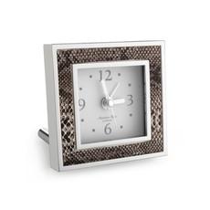Alarm Clock - Square - Natural Snake & Silver
