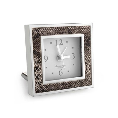 Alarm Clock - Square - Natural Snake & Silver