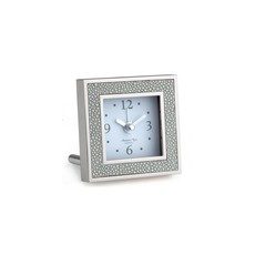 Alarm Clock - Square - Shagreen & Silver -  Grey