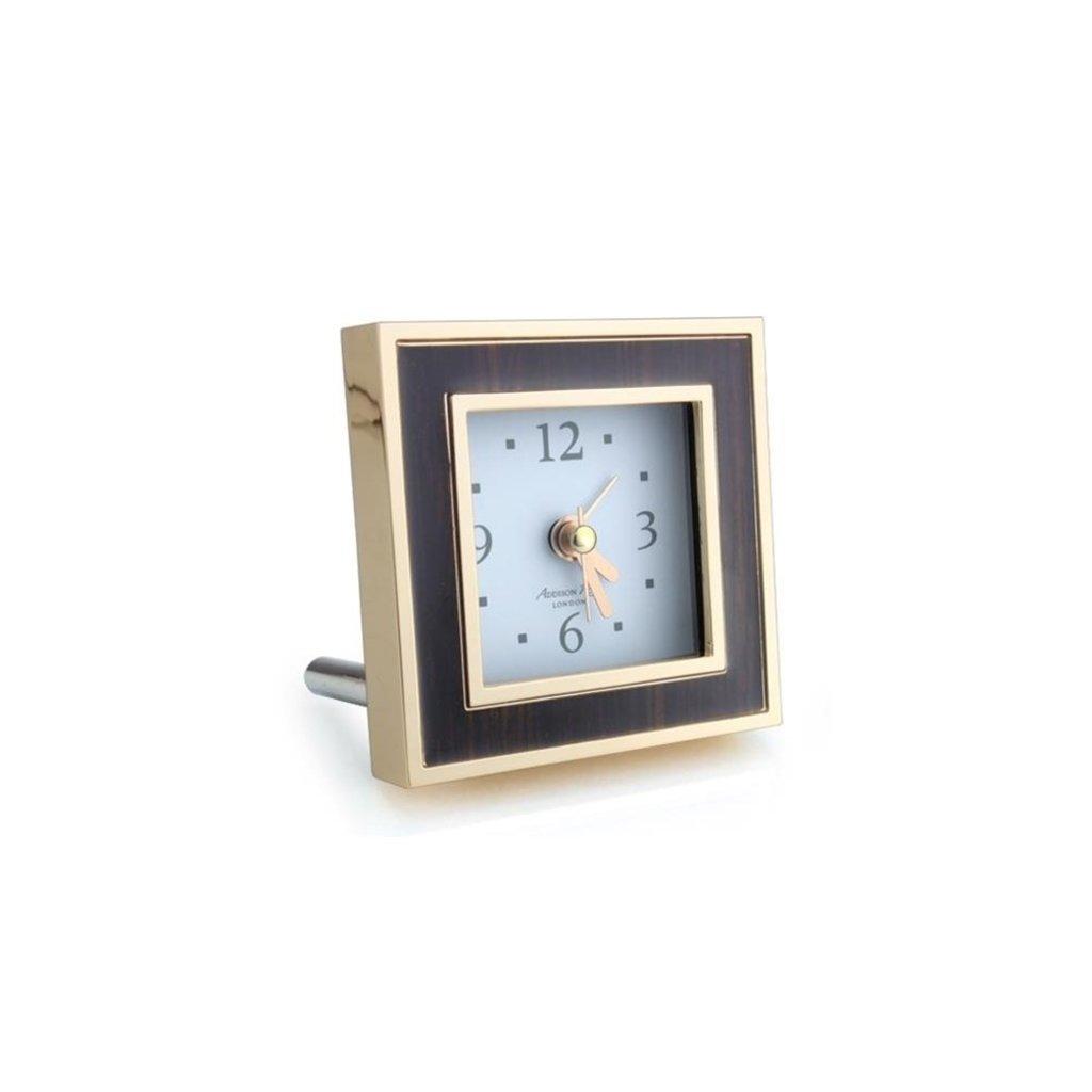 MH Alarm Clock - Square - Toscana - Enamel & Gold -  Black