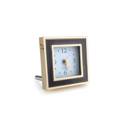 Alarm Clock - Square - Toscana - Enamel & Gold -  Black