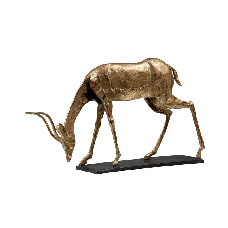 Bungalow 5 Statue - Oryx Curved Horn - Gold Leafed Iron & Bronze - 16.5w x 5.5d x 9.5h