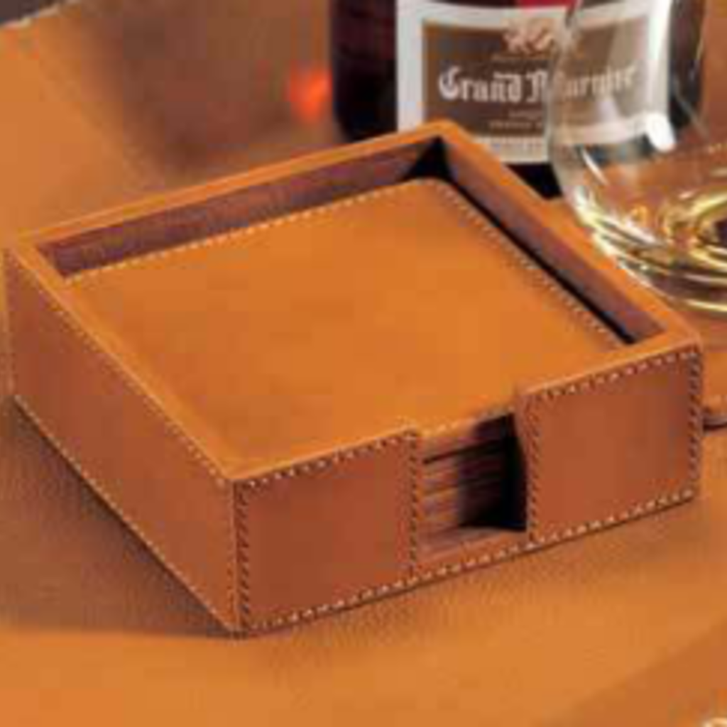 Zodax Coasters - Tan Leather S/6 - 4.5x4.5
