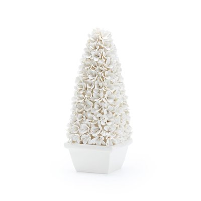 Topiary - Boxwood - White Porcelain -  Mayfair - Tall - 5.5Wx5.5Dx14H