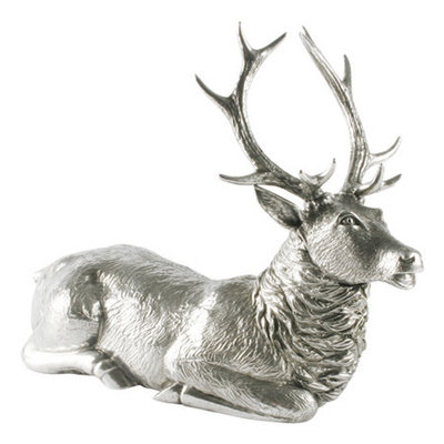 Statuette - Sitting Stag - Pewter