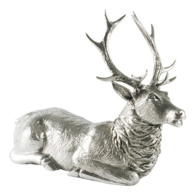 Vagabond House Statuette - Sitting Stag - Pewter