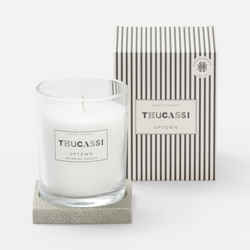 Thucassi Candle - Uptown - Shagreen Base -  Morning Breeze - Sand - 8 oz.