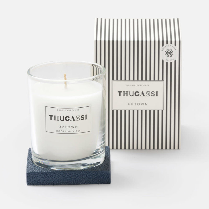 Thucassi Candle - Uptown - Shagreen Base -  Rooftop View - Navy - 8 oz.