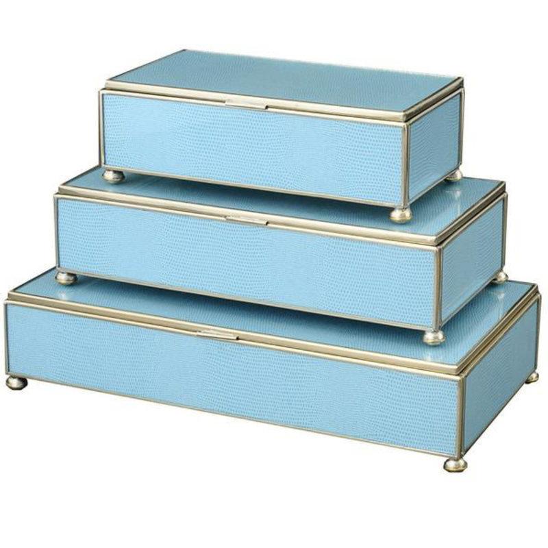 JM Piers Fine Furniture Box - Lizard Skin - Rectangle - Blue -
