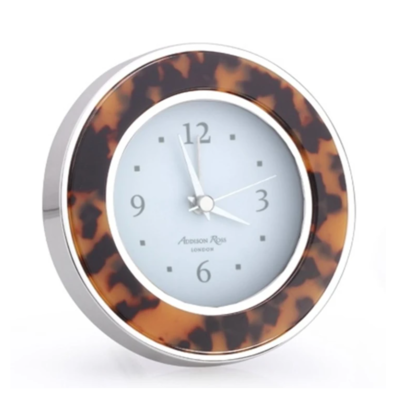 Alarm Clock - Round -  Tortoise - Silver