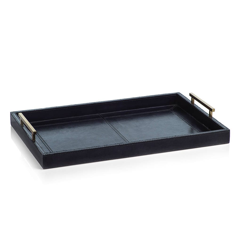 Tray - Umbria Leather with Gold Handles