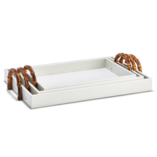 Tray - White Faux Croc w/Bamboo Handles -