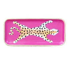 """Tray - Rectangle - Pink Leopard - 10""""x4"""""""