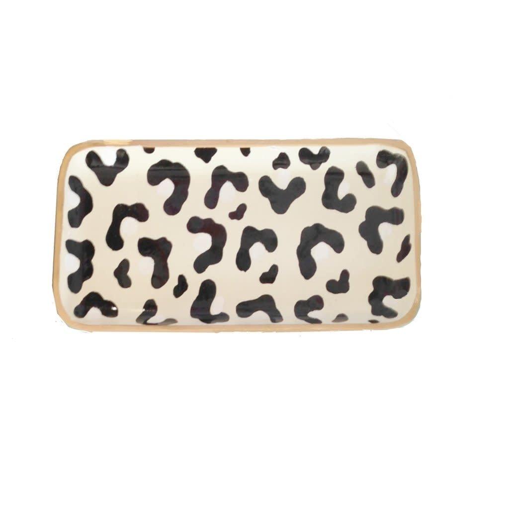 "Tray - Rectangle - White Leopard Print - 10""x4"""