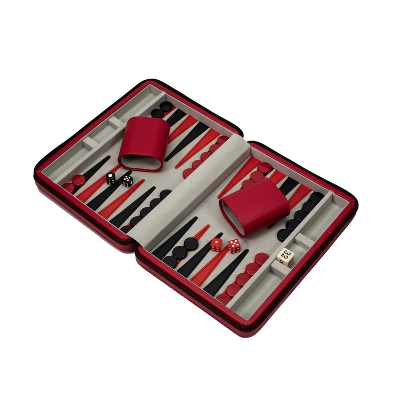 MH Backgammon - Travel Set -  Red
