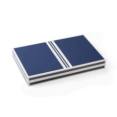 "Backgammon Set - Lacquered - 18"" -  Blue/White"