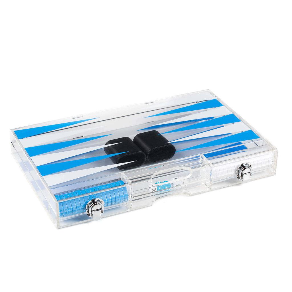 Backgammon Set - Lucite Acrylic -  Baby Blue/White - D