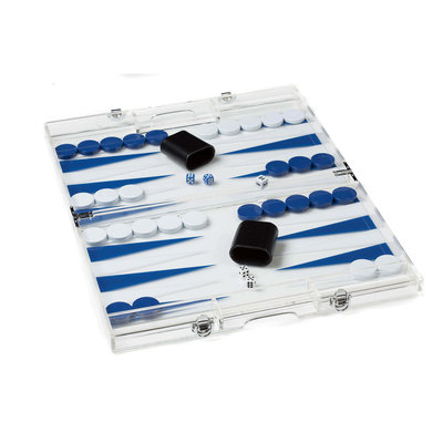 Backgammon Set - Lucite Acrylic -  Dark Blue/White