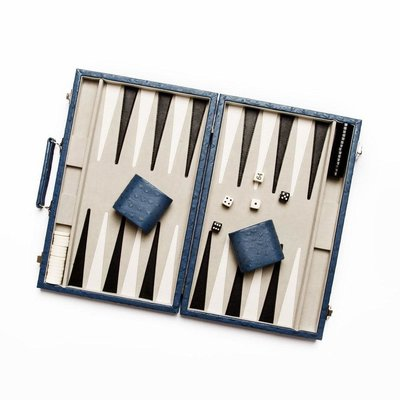 Backgammon Set - New School - Leather -  Blue Ostrich