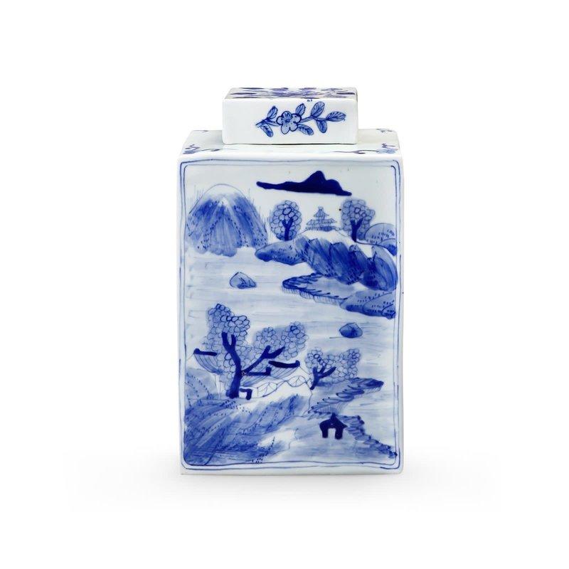 Jar - Square - Peony - Blue & White - 7.5w x 7.5d x 13h