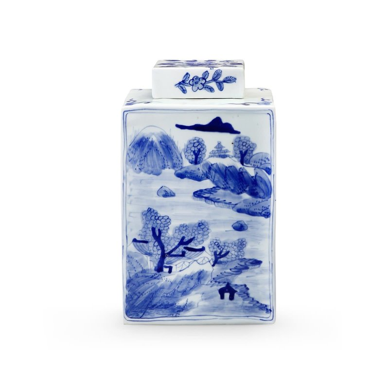 MH Jar - Square - Peony - Blue & White - 7.5w x 7.5d x 13h