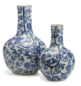 Two's Company Vase - Blue & White Lotus - Large - 21H x 13W