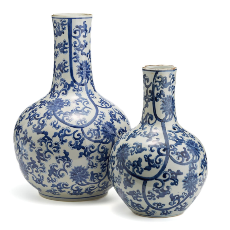 Two's Company Vase - Blue & White Lotus - Large - 21H x 13W