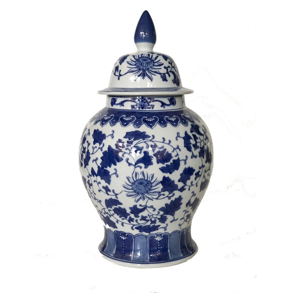 "Jar - Temple Jar - Vines & Open Lotus - 17"" - Canton Blue & White Collection"