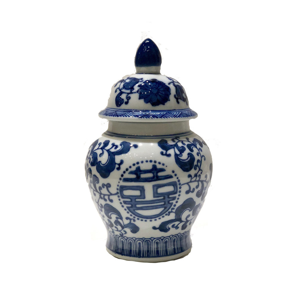 "Jar - Temple Jar - Double Happiness - 8"" - Canton Blue & White Collection"