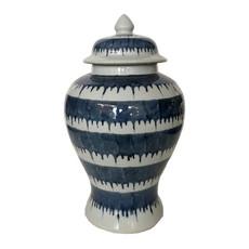 Jar - Temple Jar w/Lid - Blue & White Drip - 18H x 10.5W